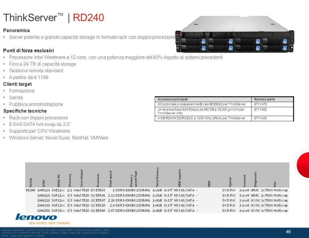 ThinkServer | RD240 Panoramica Server potente e grande capacità storage in formato rack con doppio processore. Punti di forza esclusivi Processore Int