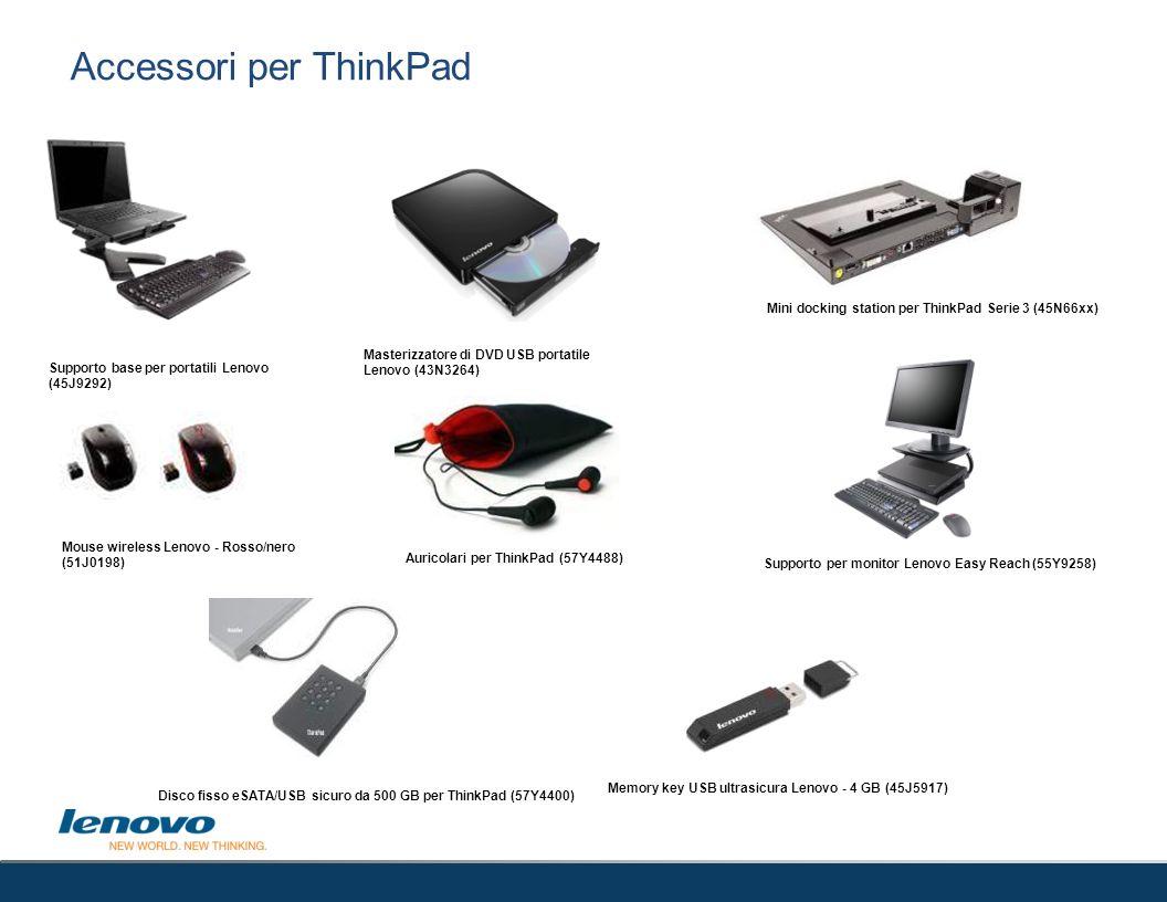 Accessori per ThinkPad Masterizzatore di DVD USB portatile Lenovo (43N3264) Supporto base per portatili Lenovo (45J9292) Mouse wireless Lenovo - Rosso