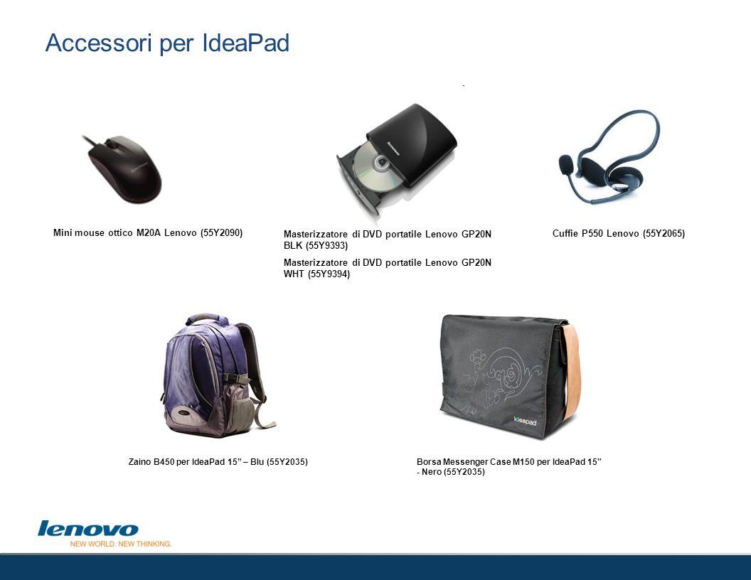 Accessori per IdeaPad Mini mouse ottico M20A Lenovo (55Y2090) Masterizzatore di DVD portatile Lenovo GP20N BLK (55Y9393) Masterizzatore di DVD portati