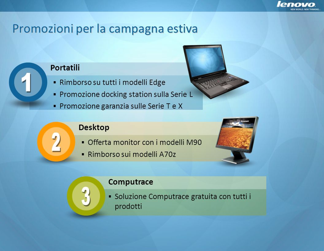 Portatili Desktop Computrace Offerta monitor con i modelli M90 Rimborso sui modelli A70z Rimborso su tutti i modelli Edge Promozione docking station s