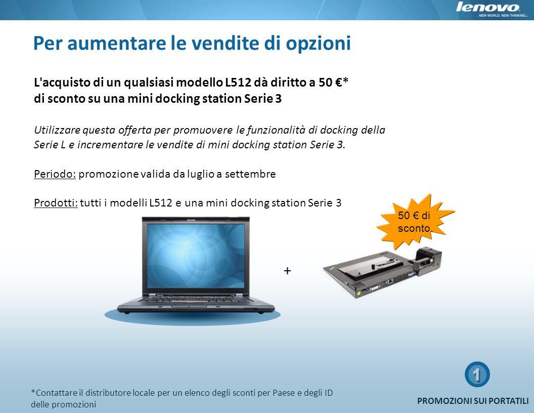 Per aumentare le vendite di opzioni 50 di sconto. + L'acquisto di un qualsiasi modello L512 dà diritto a 50 * di sconto su una mini docking station Se
