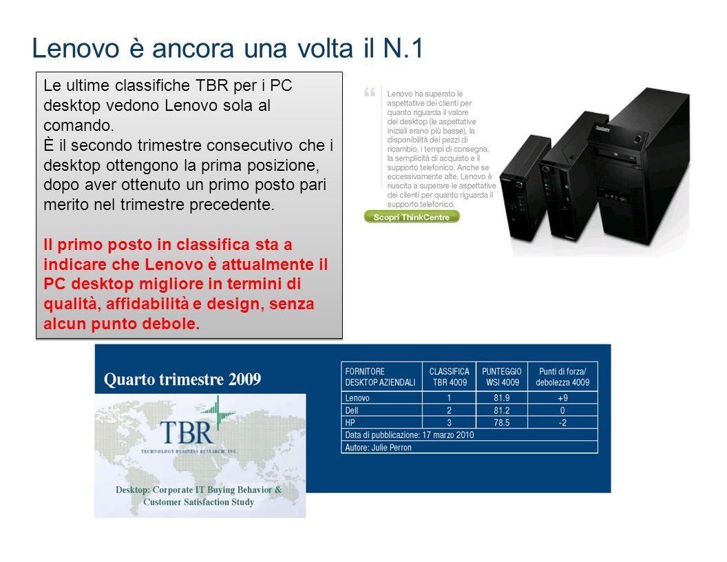 Lenovo è ancora una volta il N.1 Le ultime classifiche TBR per i PC desktop vedono Lenovo sola al comando. È il secondo trimestre consecutivo che i de