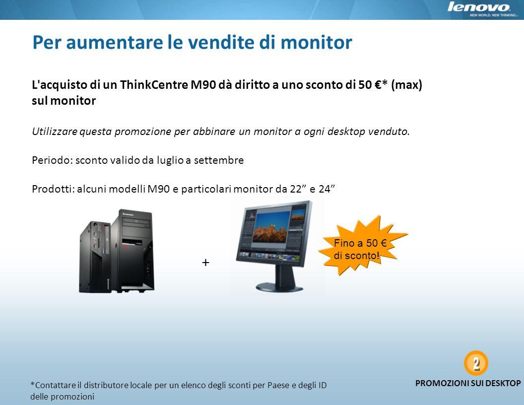 Per aumentare le vendite di monitor + Fino a 50 di sconto! L'acquisto di un ThinkCentre M90 dà diritto a uno sconto di 50 * (max) sul monitor Utilizza