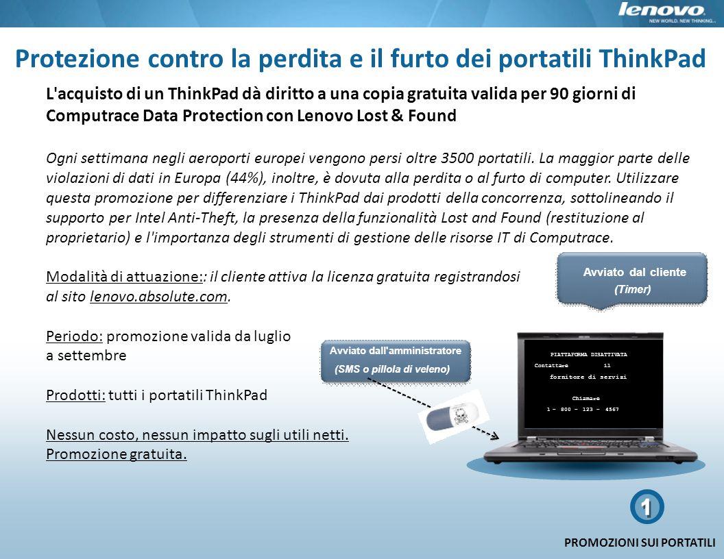 Protezione contro la perdita e il furto dei portatili ThinkPad L'acquisto di un ThinkPad dà diritto a una copia gratuita valida per 90 giorni di Compu