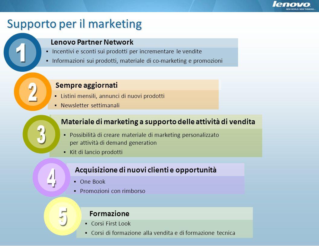 Sempre aggiornati Supporto per il marketing Lenovo Partner Network Incentivi e sconti sui prodotti per incrementare le vendite Informazioni sui prodot