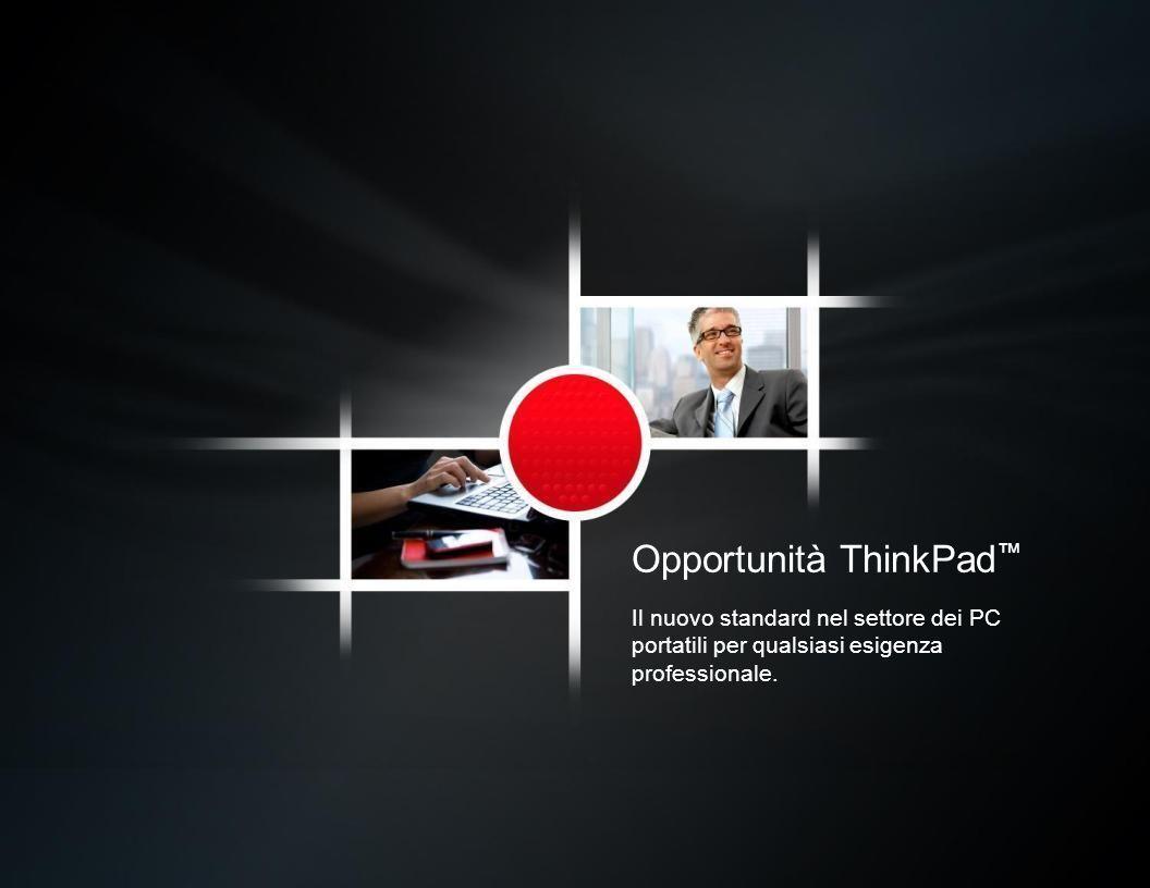 Opportunità ThinkPad Il nuovo standard nel settore dei PC portatili per qualsiasi esigenza professionale.