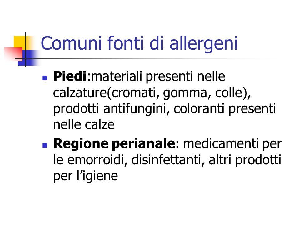 Comuni fonti di allergeni Piedi:materiali presenti nelle calzature(cromati, gomma, colle), prodotti antifungini, coloranti presenti nelle calze Region