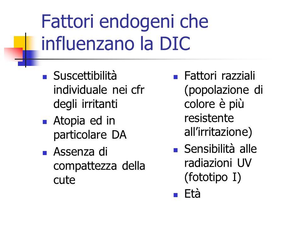Fattori endogeni che influenzano la DIC Suscettibilità individuale nei cfr degli irritanti Atopia ed in particolare DA Assenza di compattezza della cu