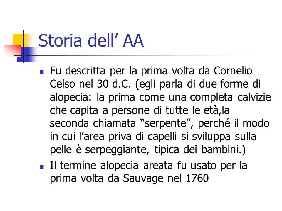 Storia dell AA Fu descritta per la prima volta da Cornelio Celso nel 30 d.C. (egli parla di due forme di alopecia: la prima come una completa calvizie