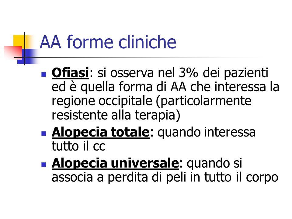AA forme cliniche Ofiasi: si osserva nel 3% dei pazienti ed è quella forma di AA che interessa la regione occipitale (particolarmente resistente alla