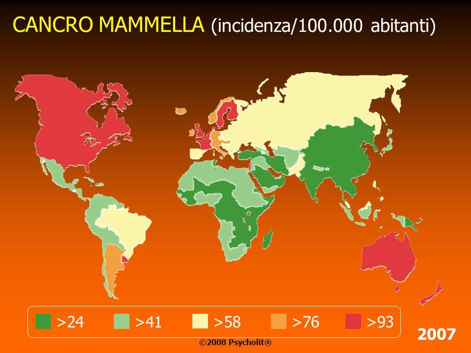 CANCRO POLMONI (incidenza/100.000 abitanti) >21>78>97>59>40 2007 ©2008 Psycholit®
