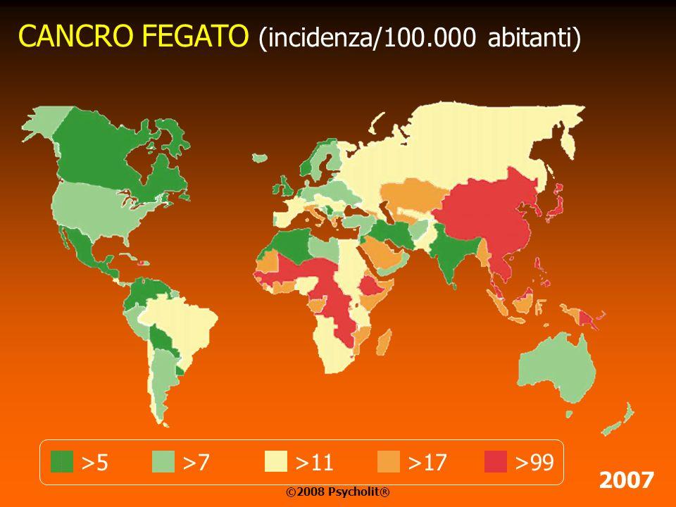 >7>24>72>16>11 CANCRO STOMACO (incidenza/100.000 abitanti) 2007 ©2008 Psycholit®