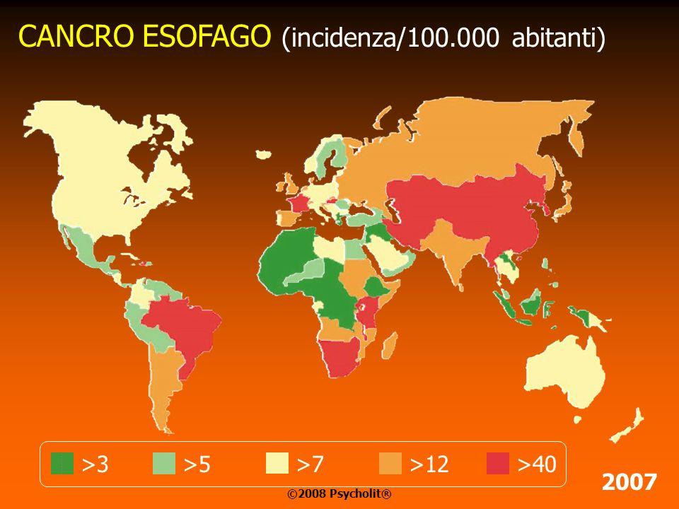 >9>38>96>26>18 CANCRO UTERO (incidenza/100.000 abitanti) 2007 ©2008 Psycholit®
