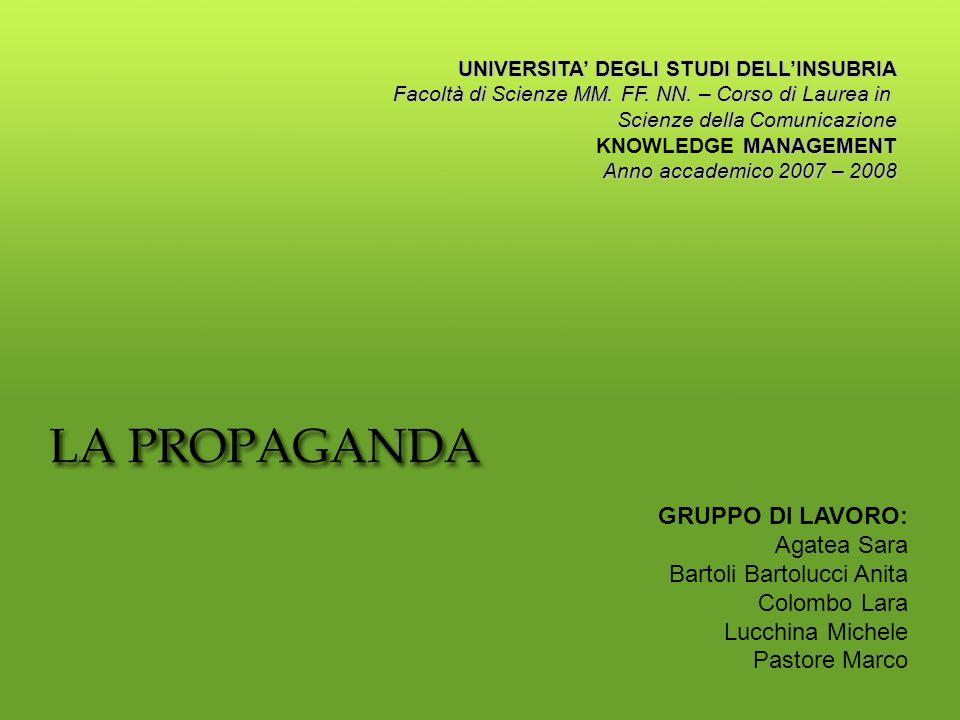 Il Progetto mira a creare un percorso di analisi e approfondimento rispetto alle possibilità di utilizzo e sfruttamento di ogni forma di Propaganda 1