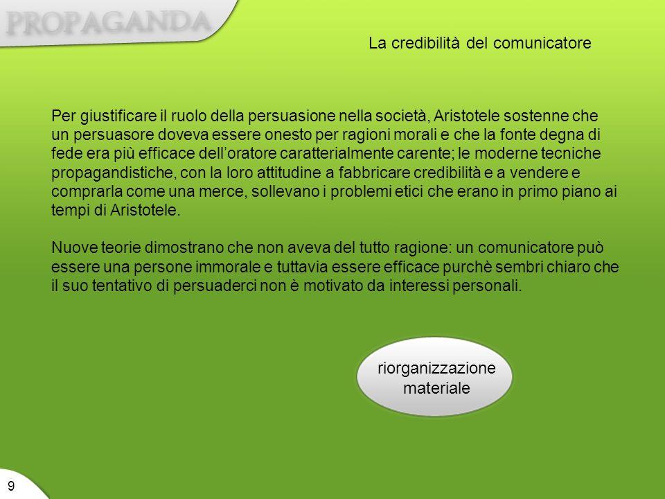 riorganizzazione materiale 9 La credibilità del comunicatore Per giustificare il ruolo della persuasione nella società, Aristotele sostenne che un per