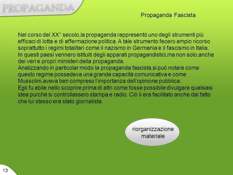 riorganizzazione materiale 13 Propaganda Fascista Nel corso del XX° secolo,la propaganda rappresentò uno degli strumenti più efficaci di lotta e di af