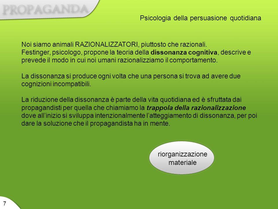 riorganizzazione materiale 7 Psicologia della persuasione quotidiana Noi siamo animali RAZIONALIZZATORI, piuttosto che razionali. Festinger, psicologo
