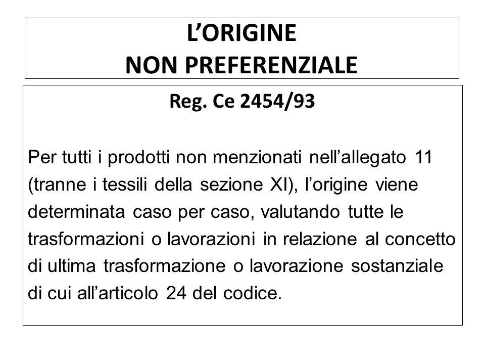 LORIGINE NON PREFERENZIALE Reg. Ce 2454/93 Per tutti i prodotti non menzionati nellallegato 11 (tranne i tessili della sezione XI), lorigine viene det