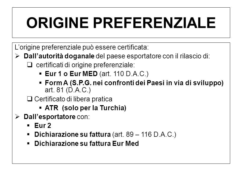 ORIGINE PREFERENZIALE Lorigine preferenziale può essere certificata: Dallautorità doganale del paese esportatore con il rilascio di: certificati di or