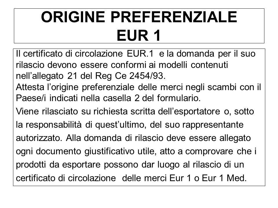 ORIGINE PREFERENZIALE EUR 1 Il certificato di circolazione EUR.1 e la domanda per il suo rilascio devono essere conformi ai modelli contenuti nellalle