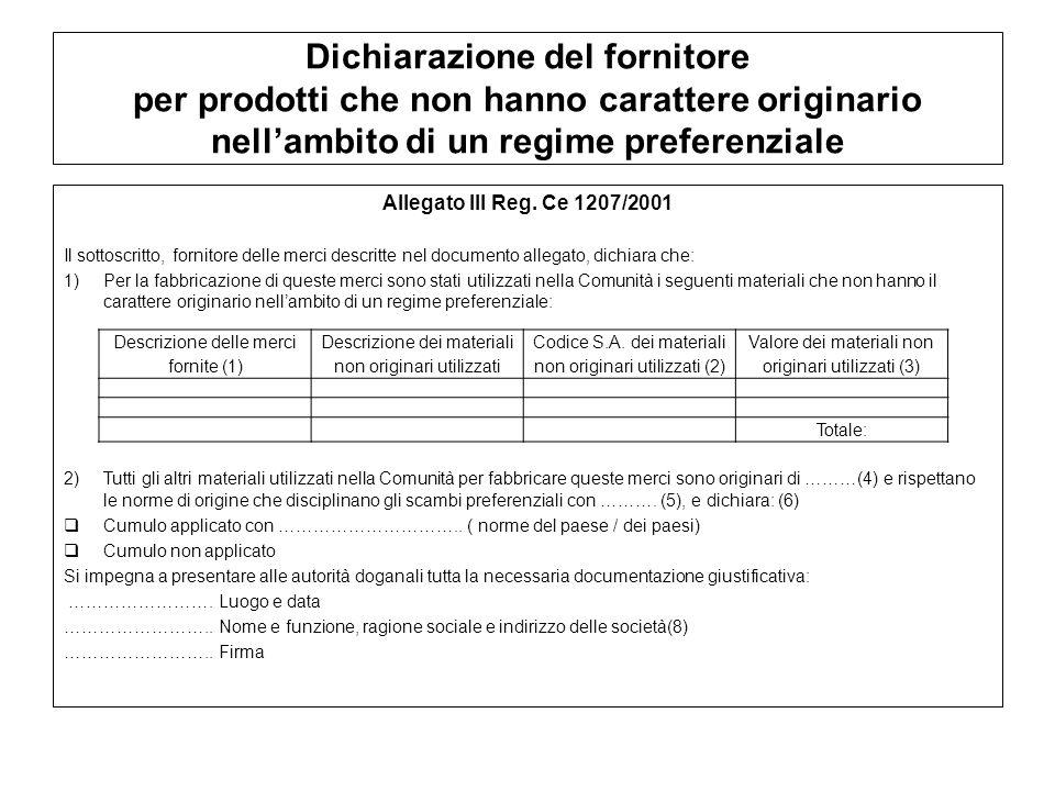 Dichiarazione del fornitore per prodotti che non hanno carattere originario nellambito di un regime preferenziale Allegato III Reg. Ce 1207/2001 Il so