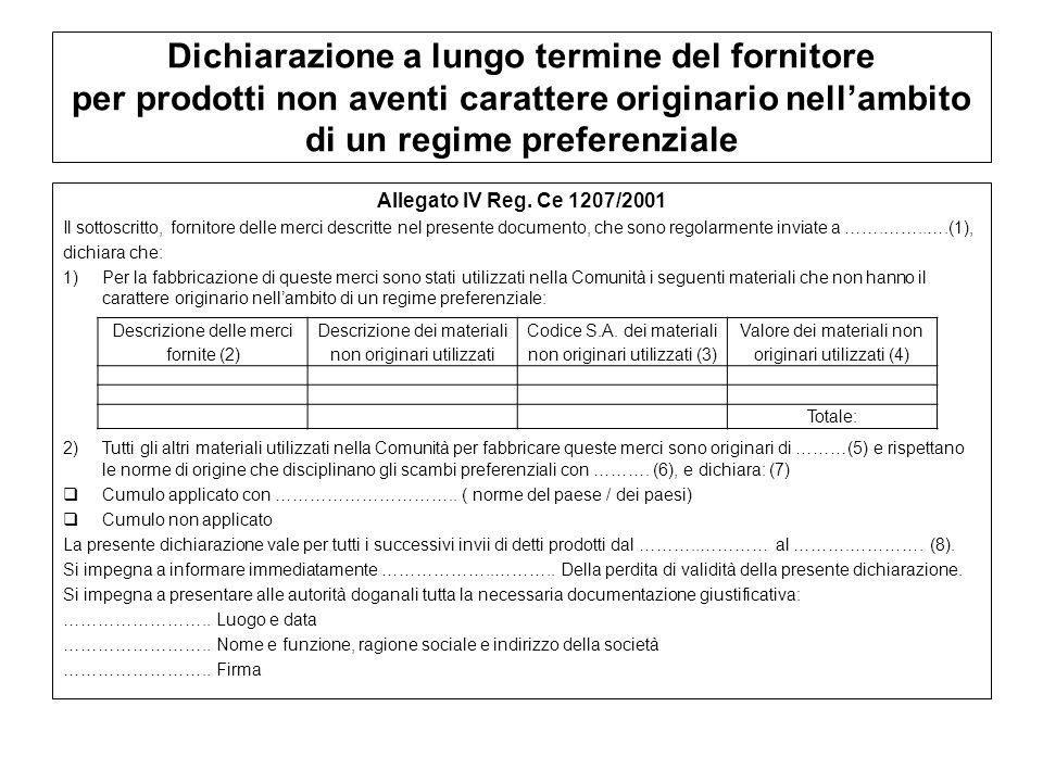 Dichiarazione a lungo termine del fornitore per prodotti non aventi carattere originario nellambito di un regime preferenziale Allegato IV Reg. Ce 120