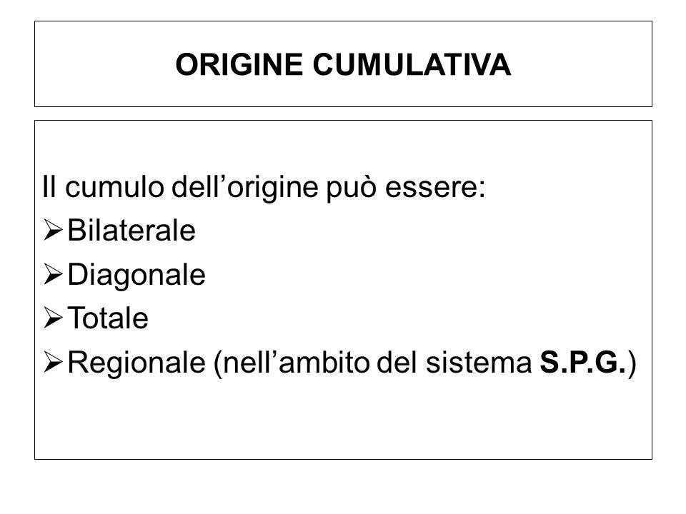 ORIGINE CUMULATIVA Il cumulo dellorigine può essere: Bilaterale Diagonale Totale Regionale (nellambito del sistema S.P.G.)