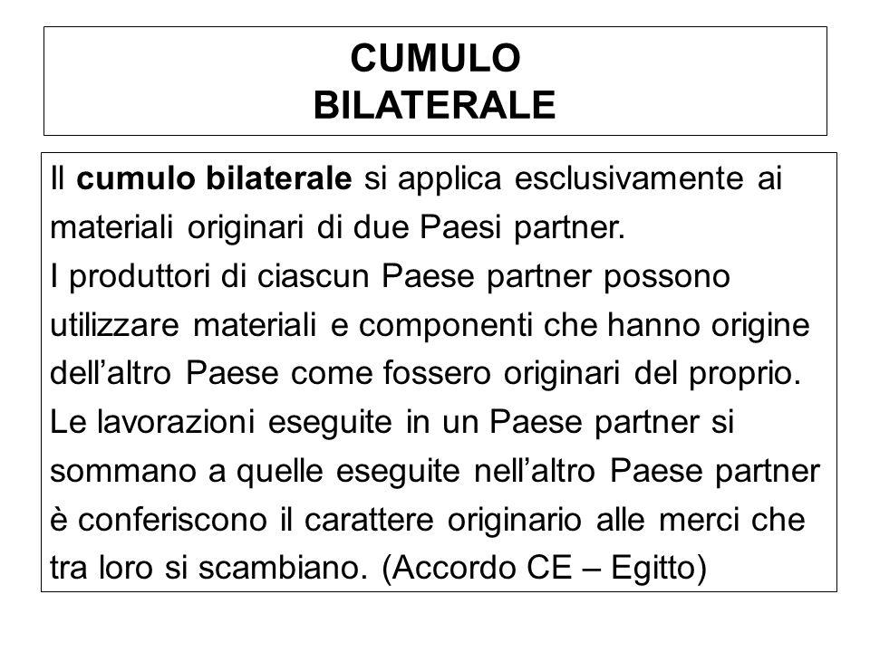 CUMULO BILATERALE Il cumulo bilaterale si applica esclusivamente ai materiali originari di due Paesi partner. I produttori di ciascun Paese partner po