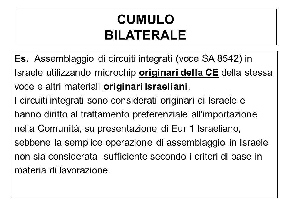 CUMULO BILATERALE Es. Assemblaggio di circuiti integrati (voce SA 8542) in Israele utilizzando microchip originari della CE della stessa. voce e altri
