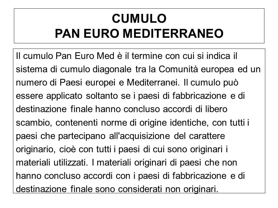 CUMULO PAN EURO MEDITERRANEO Il cumulo Pan Euro Med è il termine con cui si indica il sistema di cumulo diagonale tra la Comunità europea ed un numero