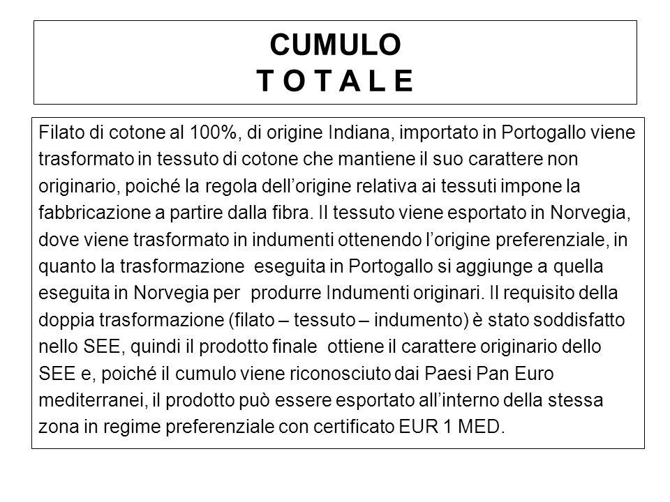 CUMULO T O T A L E Filato di cotone al 100%, di origine Indiana, importato in Portogallo viene trasformato in tessuto di cotone che mantiene il suo ca