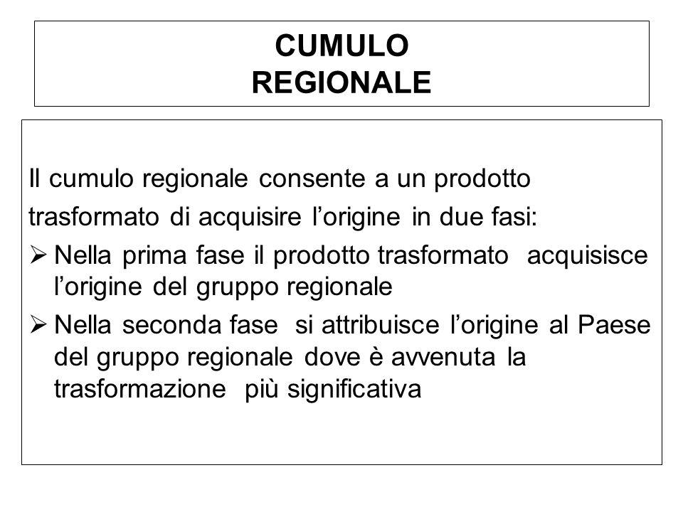 CUMULO REGIONALE Il cumulo regionale consente a un prodotto trasformato di acquisire lorigine in due fasi: Nella prima fase il prodotto trasformato ac