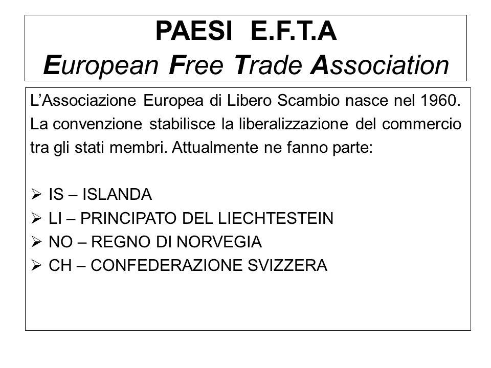 PAESI E.F.T.A European Free Trade Association LAssociazione Europea di Libero Scambio nasce nel 1960. La convenzione stabilisce la liberalizzazione de