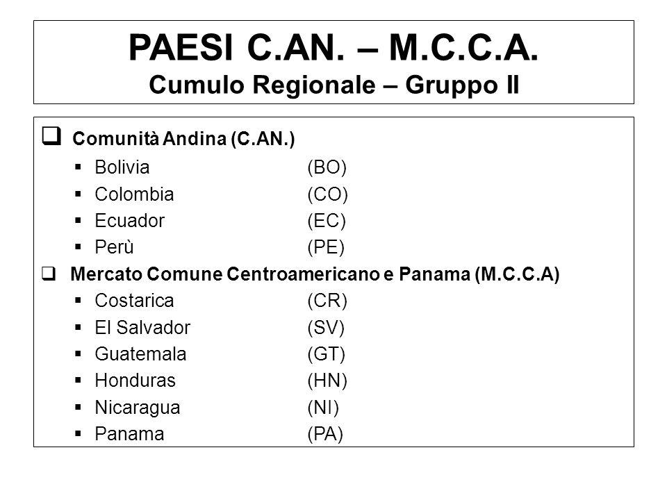 PAESI C.AN. – M.C.C.A. Cumulo Regionale – Gruppo II Comunità Andina (C.AN.) Bolivia(BO) Colombia(CO) Ecuador(EC) Perù(PE) Mercato Comune Centroamerica