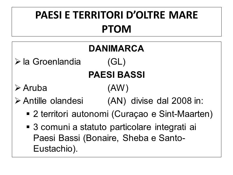 PAESI E TERRITORI DOLTRE MARE PTOM DANIMARCA la Groenlandia(GL) PAESI BASSI Aruba(AW) Antille olandesi(AN) divise dal 2008 in: 2 territori autonomi (C