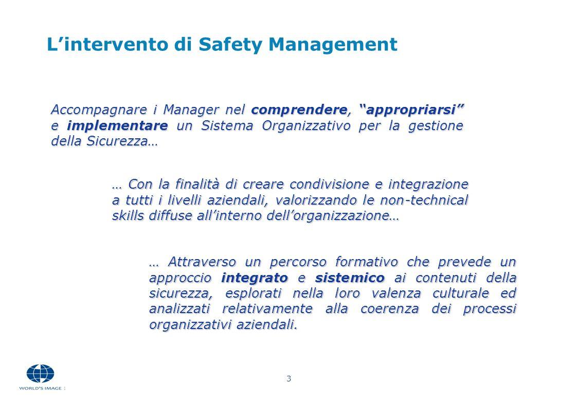 3 Accompagnare i Manager nel comprendere, appropriarsi e implementare un Sistema Organizzativo per la gestione della Sicurezza… Lintervento di Safety