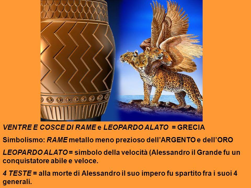 VENTRE E COSCE DI RAME e LEOPARDO ALATO = GRECIA Simbolismo: RAME metallo meno prezioso dellARGENTO e dellORO LEOPARDO ALATO = simbolo della velocità