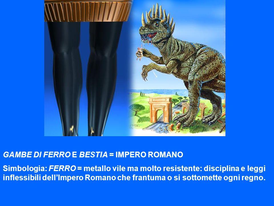 GAMBE DI FERRO E BESTIA = IMPERO ROMANO Simbologia: FERRO = metallo vile ma molto resistente: disciplina e leggi inflessibili dellImpero Romano che fr