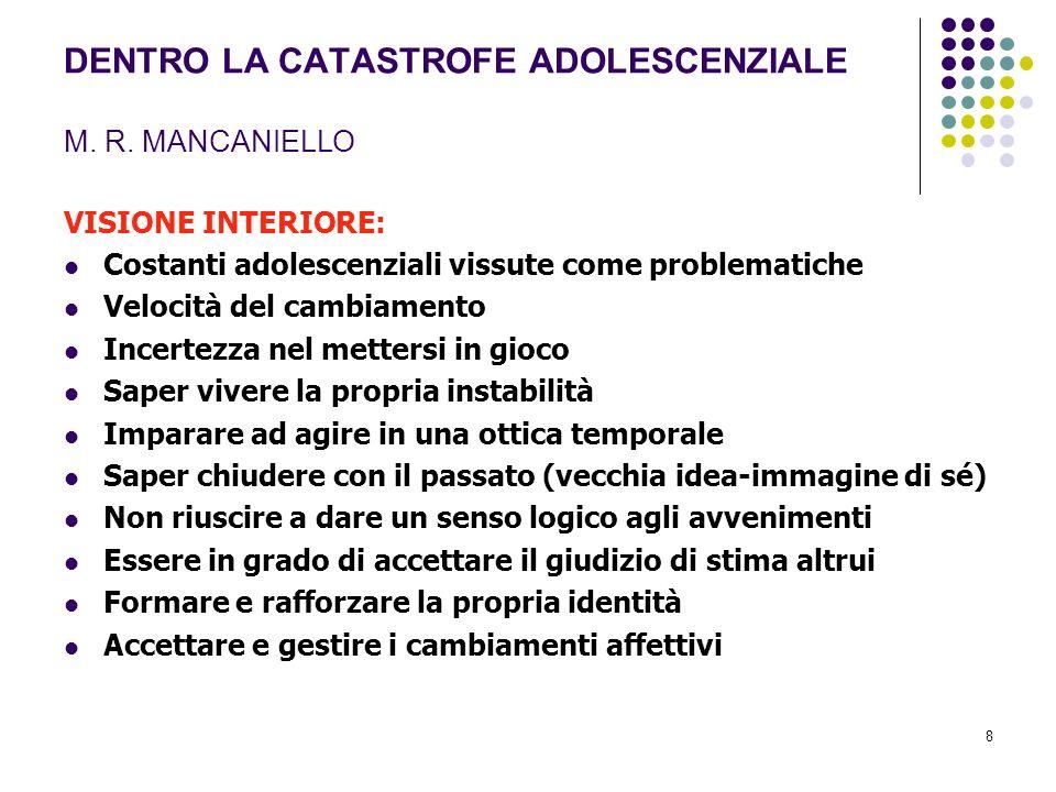 8 DENTRO LA CATASTROFE ADOLESCENZIALE M. R. MANCANIELLO VISIONE INTERIORE: Costanti adolescenziali vissute come problematiche Velocità del cambiamento