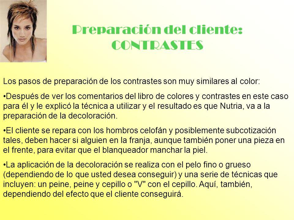 Preparación del cliente: CONTRASTES Los pasos de preparación de los contrastes son muy similares al color: Después de ver los comentarios del libro de