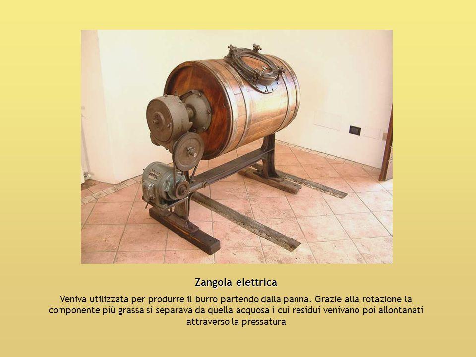 Zangola elettrica Veniva utilizzata per produrre il burro partendo dalla panna. Grazie alla rotazione la componente più grassa si separava da quella a