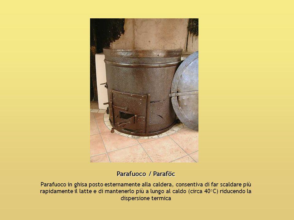 Parafuoco / Paraföc Parafuoco in ghisa posto esternamente alla caldera, consentiva di far scaldare più rapidamente il latte e di mantenerlo più a lung