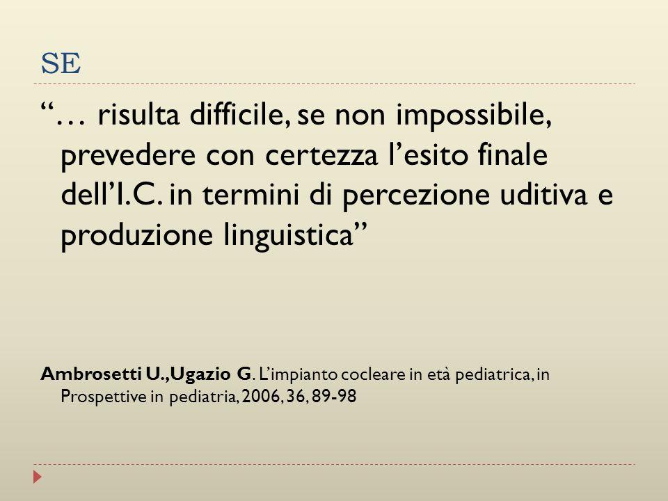 SE … risulta difficile, se non impossibile, prevedere con certezza lesito finale dellI.C. in termini di percezione uditiva e produzione linguistica Am