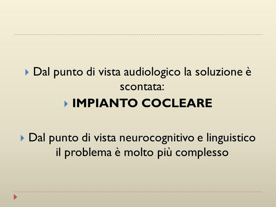 Dal punto di vista audiologico la soluzione è scontata: IMPIANTO COCLEARE Dal punto di vista neurocognitivo e linguistico il problema è molto più comp