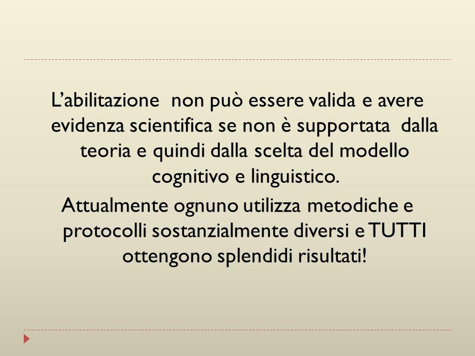 Labilitazione non può essere valida e avere evidenza scientifica se non è supportata dalla teoria e quindi dalla scelta del modello cognitivo e lingui