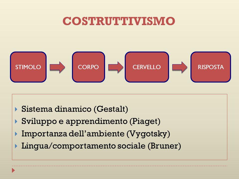 Sistema dinamico (Gestalt) Sviluppo e apprendimento (Piaget) Importanza dellambiente (Vygotsky) Lingua/comportamento sociale (Bruner) STIMOLOCORPOCERV