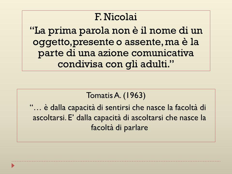 Tomatis A. (1963) … è dalla capacità di sentirsi che nasce la facoltà di ascoltarsi. E dalla capacità di ascoltarsi che nasce la facoltà di parlare F.