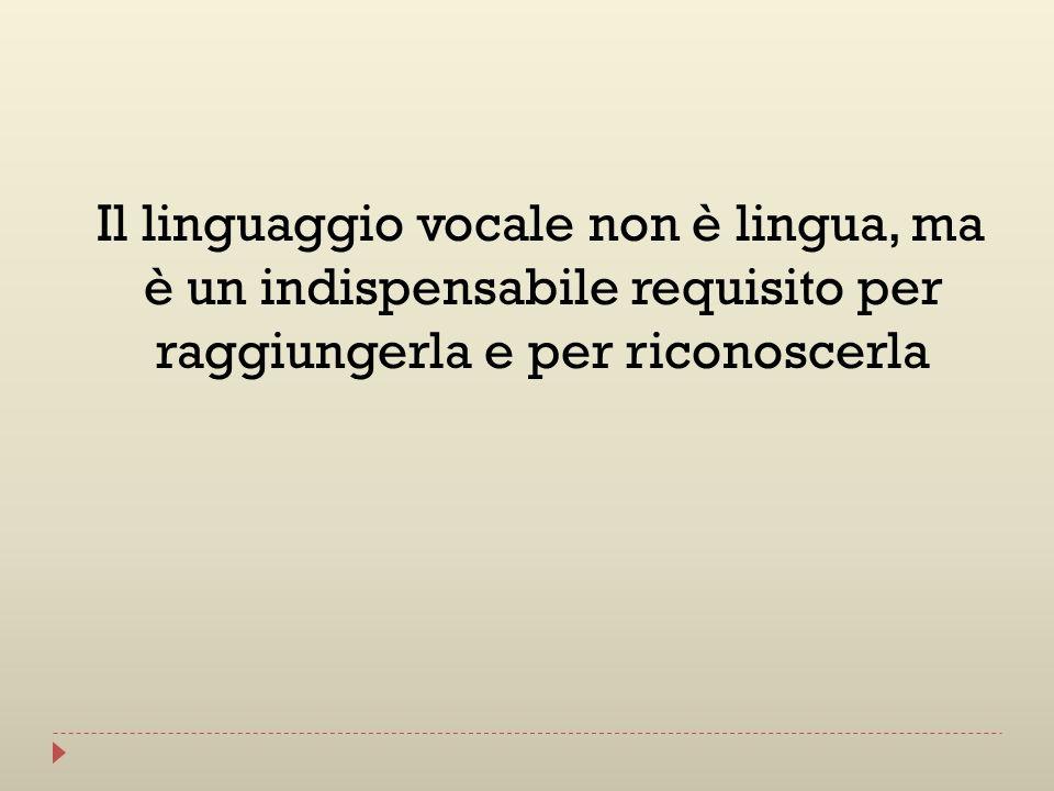 Il linguaggio vocale non è lingua, ma è un indispensabile requisito per raggiungerla e per riconoscerla
