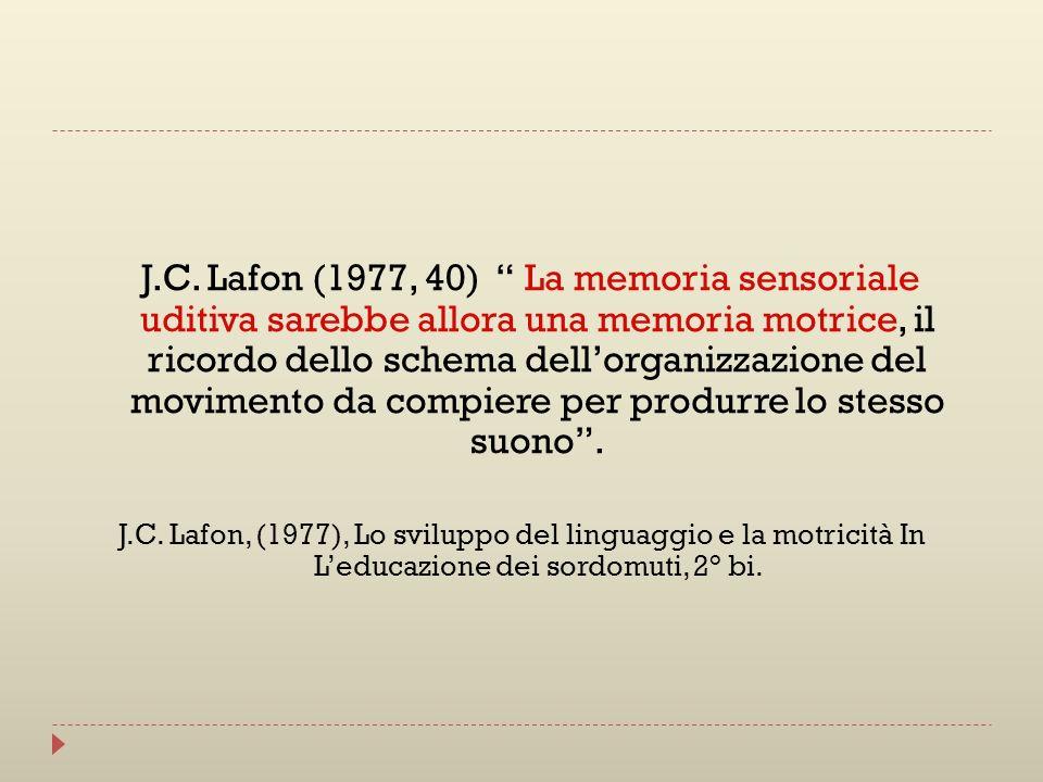 J.C. Lafon (1977, 40) La memoria sensoriale uditiva sarebbe allora una memoria motrice, il ricordo dello schema dellorganizzazione del movimento da co