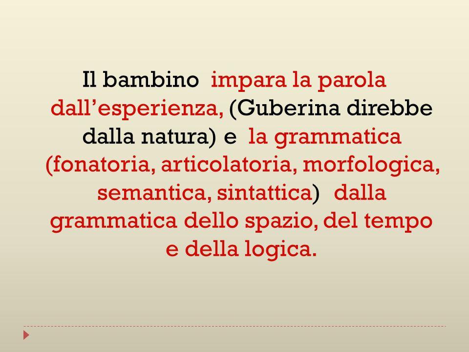 Il bambino impara la parola dallesperienza, (Guberina direbbe dalla natura) e la grammatica (fonatoria, articolatoria, morfologica, semantica, sintatt
